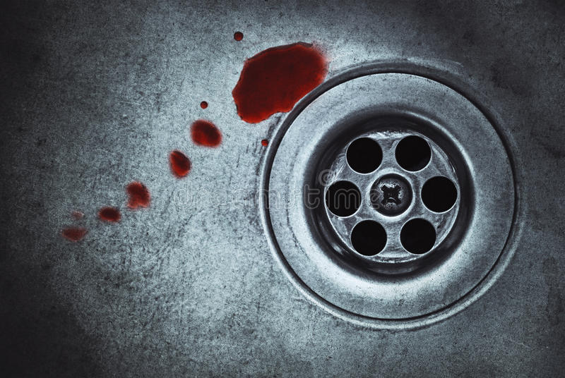 Blood on sink. Blood on dirty sink (retro effect royalty free stock images