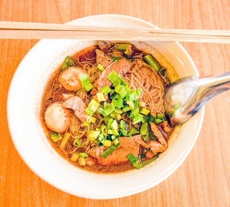 Blood soup noodle. Boat noodles is a Thai style noodle dish, wh stock photography