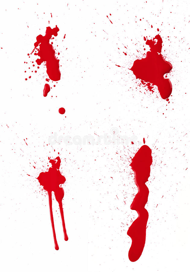 Blood Spatter III. A composite of 4 wet red paint (blood) stains isolated on white stock illustration
