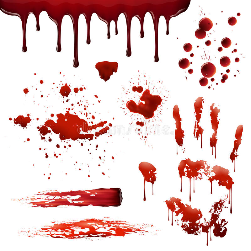 Free Blood Spatters Realistic Bloodstain Patterns Set Royalty Free Stock Images - 82643999
