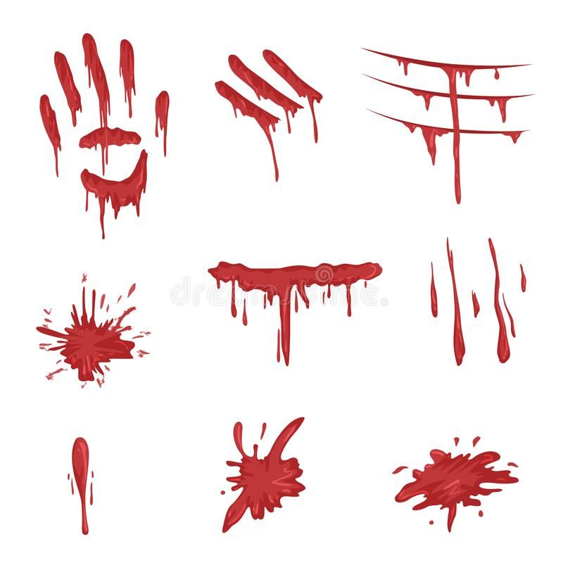 Blood spatters set, red palm prints, finger smears and stains vector Illustrations on a white background vector illustration