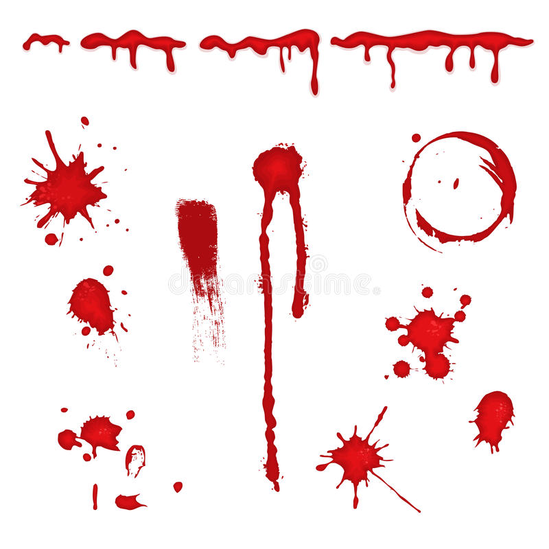 Blood splatter -. Set of different blood drops, splatter and trail. Isolated over white background. Vector file saved as EPS AI8, all elements layered and stock illustration
