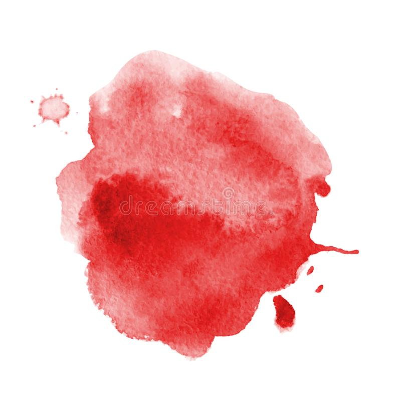 Blood splatter painted vector isolated on white for halloween design Red dripping blood drop watercolor royalty free illustration