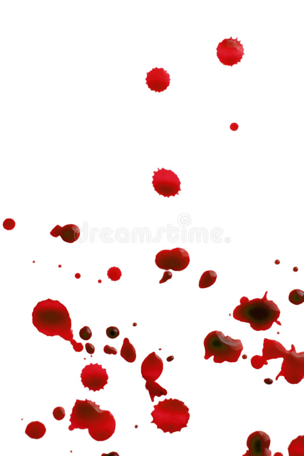 Blood splattered. Splattered ink on white background royalty free stock photos