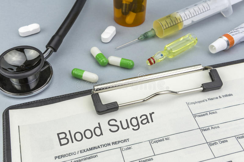 Blood Sugar, medicines and syringes as concept. Of ordinary treatment health royalty free stock photos