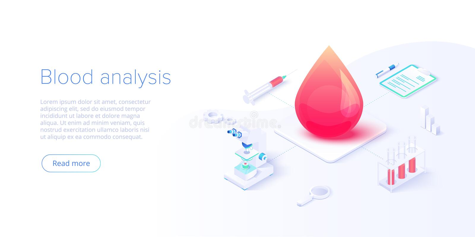 Blood test or analysis in isometric vector illustration. Healthcare concept for clinical laboratory examination. Medical stock illustration