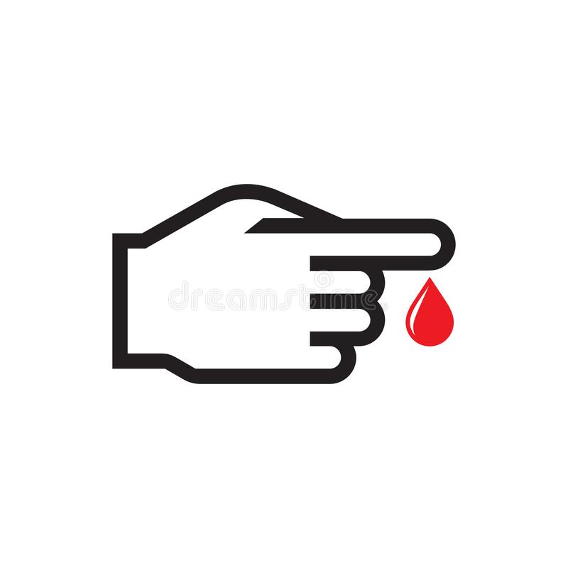 Blood test - icon on white background vector illustration for website, mobile application, presentation, infographic. Human hand stock illustration