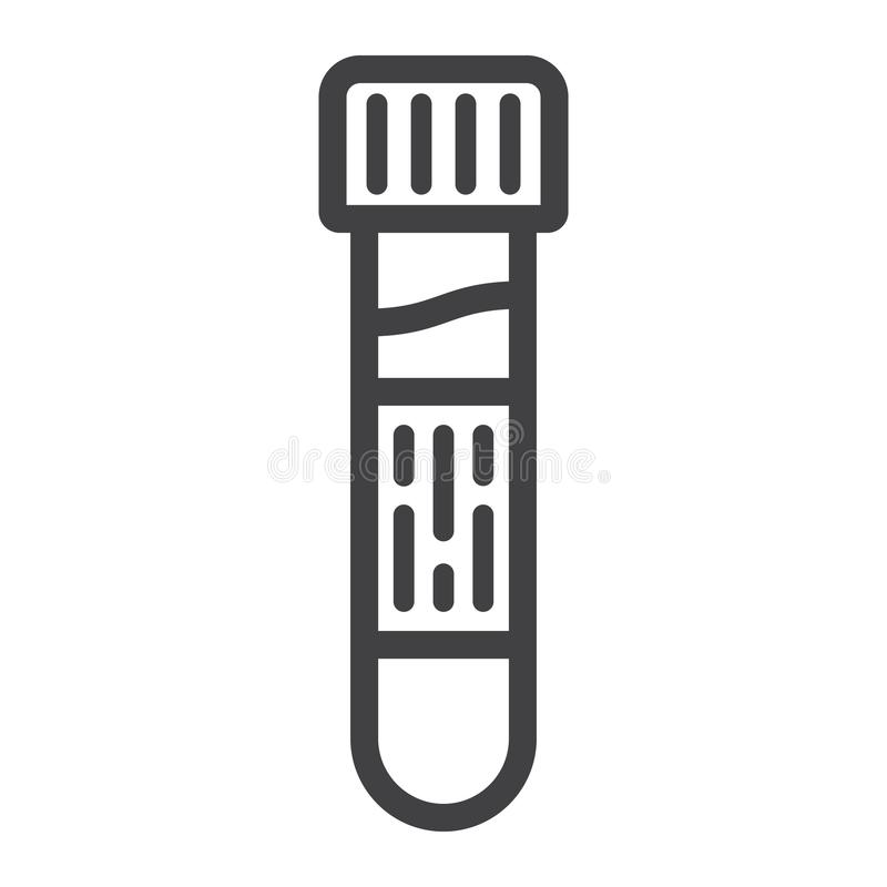 Blood test line icon, medicine and healthcare royalty free illustration
