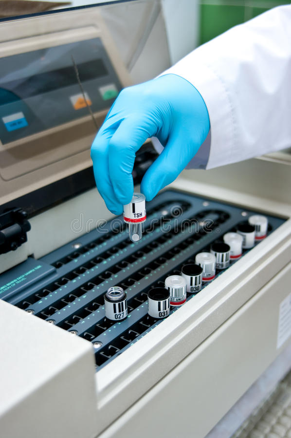 Blood test machine. Special blood test machine at a medical laboratory royalty free stock photos