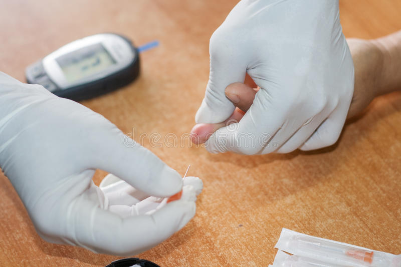 Blood Test. S to measure blood sugar levels. Screening for diabetes risk stock image