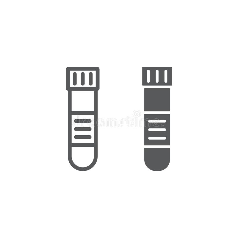 Blood test tube line and glyph icon, medical royalty free illustration
