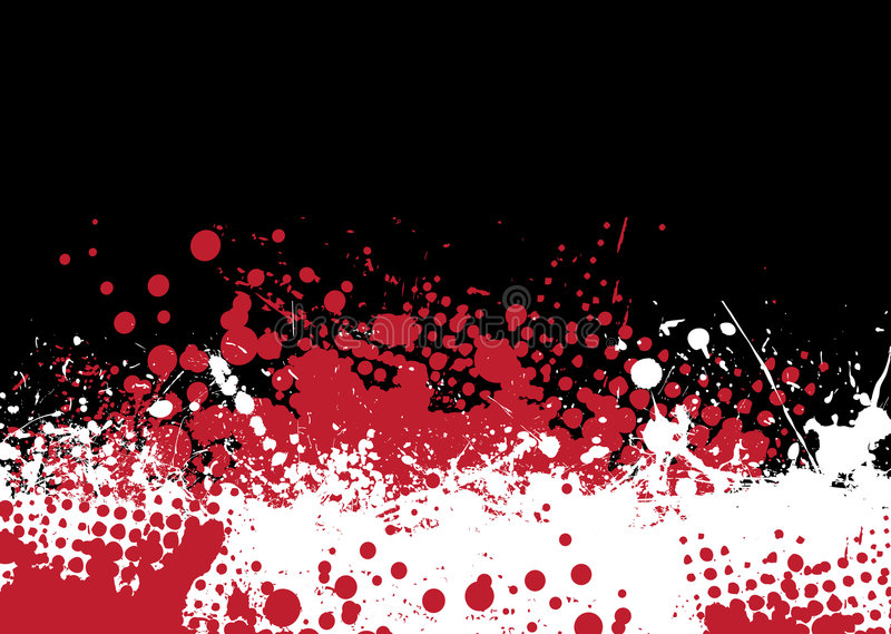 Blood tone. Blood splat abstract background with red and white ink pools stock illustration