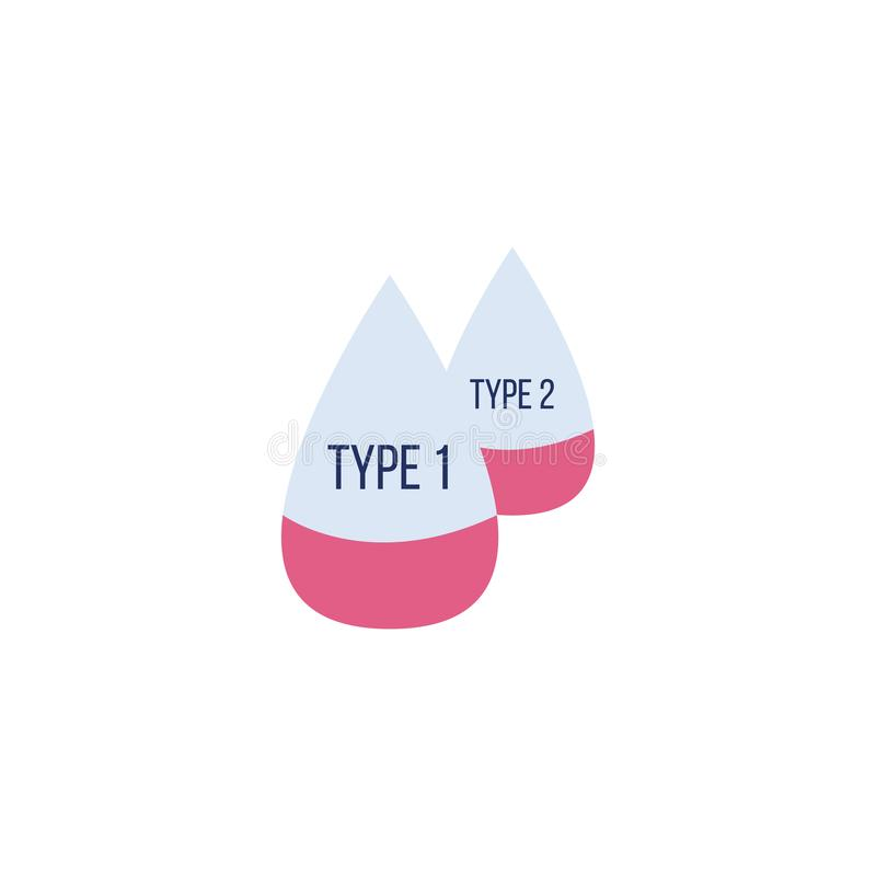 1 and 2 blood type flat icon with two red drops filled with red liquid vector illustration