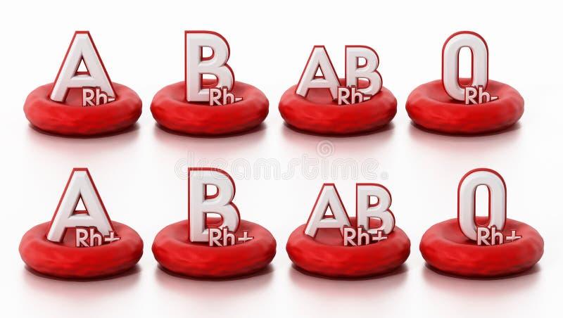 Blood types standing on blood cells. 3D illustration vector illustration