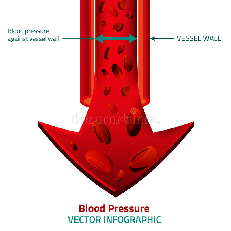 Blood Vector Image. Beautiful vector illustration of blood pressure infographic. Abstract medicine concept. Useful for poster, indographics, placard, leaflet vector illustration