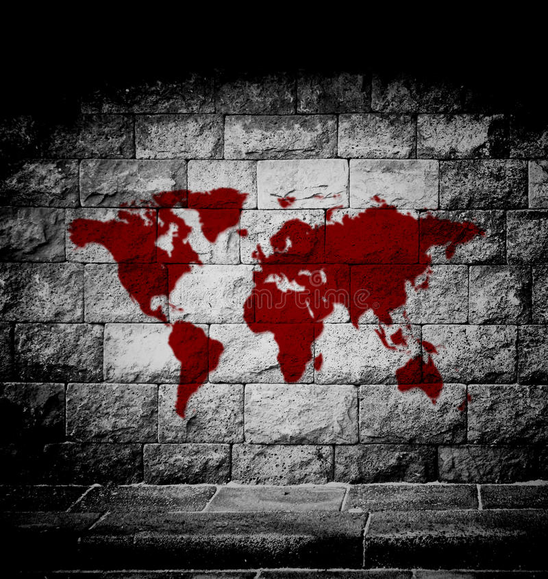 Blood world map. On the wall vector illustration