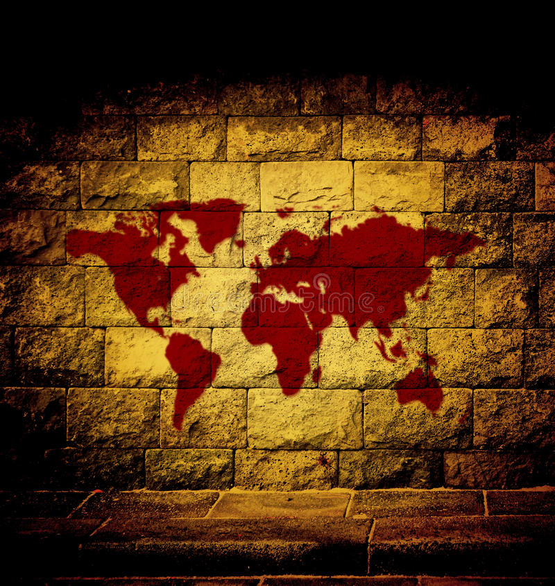 Blood world map. On the wall stock illustration