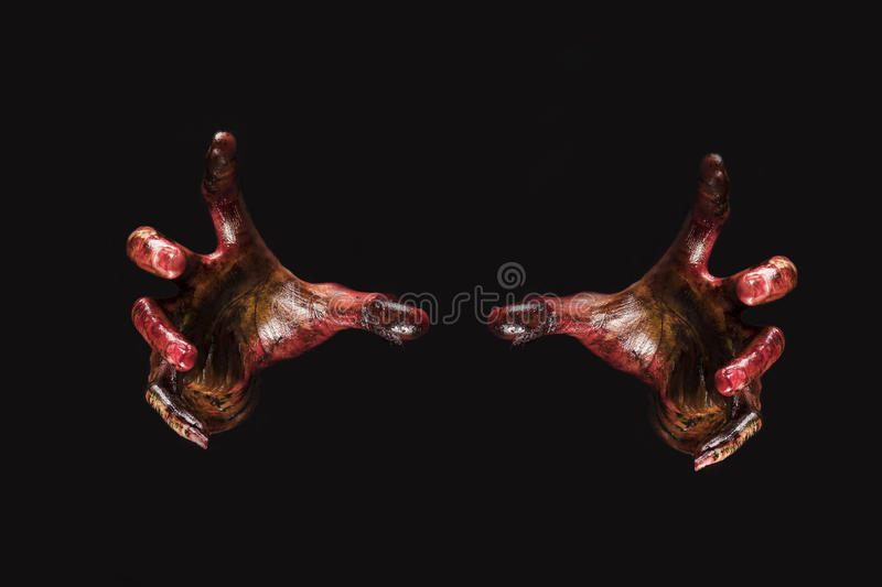 Blood zombie hands on back background,zombie theme, halloween th royalty free stock photo