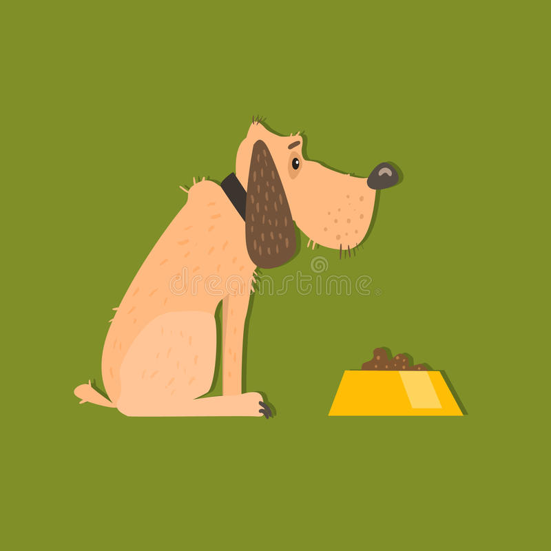 Bloodhound With Food Bowl Image. Bloodhound With Food Bowl Funny Flat Vector Illustration In Creative Applique Style vector illustration