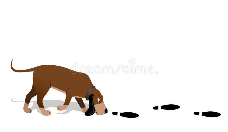 Bloodhound searching stock illustration