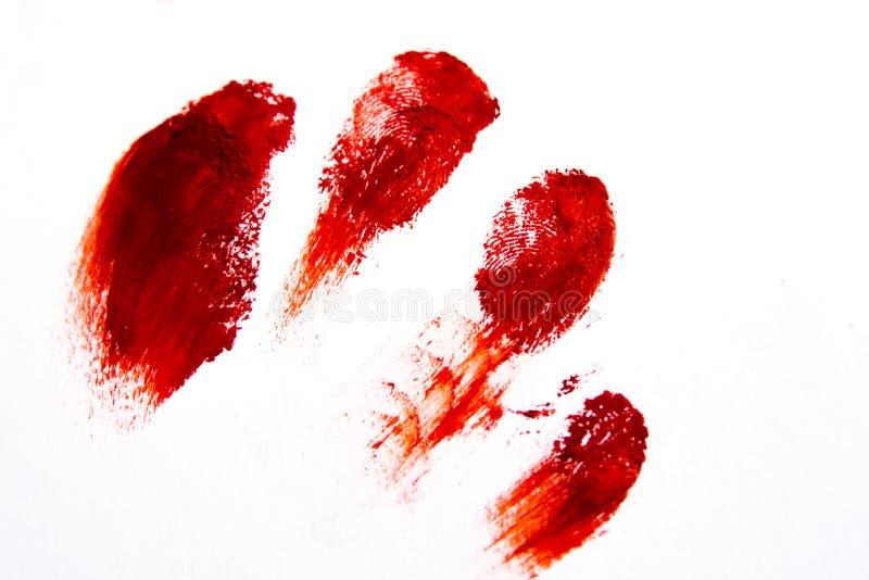 Bloodly röda fingeravtryck royaltyfri bild
