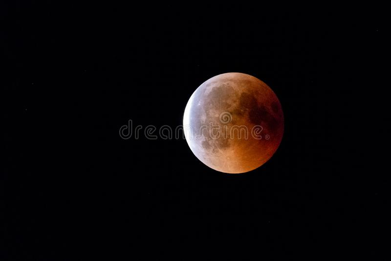 Bloodmoon, eclipse lunar, Luna Llena fotos de archivo