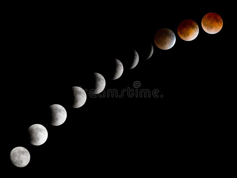Bloodmoon månförmörkelsefaser arkivbild