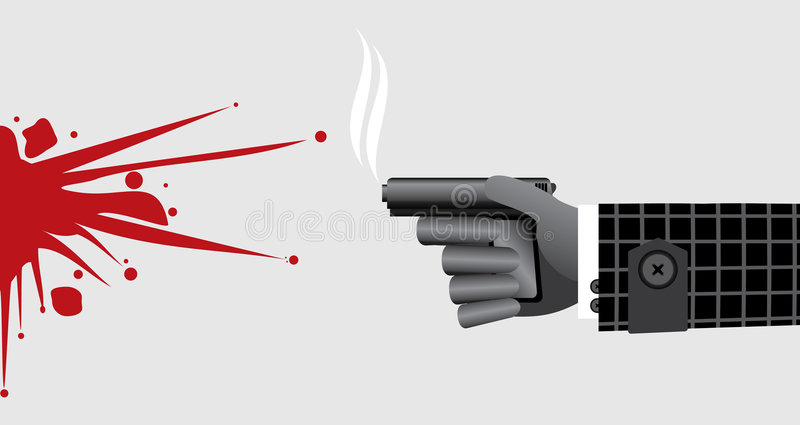 bloodstain pistoletu ręki zabójcy krócica ilustracja wektor