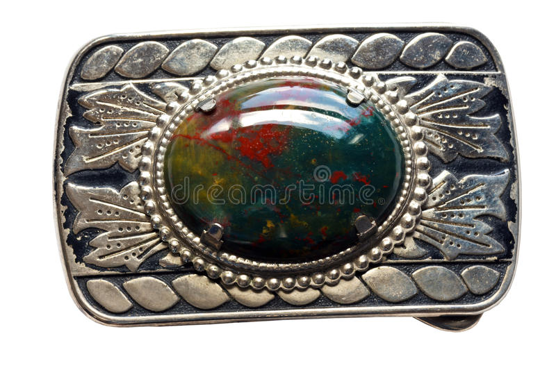 Bloodstone Belt Buckle. Bloodstone Silver Decorative Vintage, homemade Belt Buckle isolated on a white background stock photography