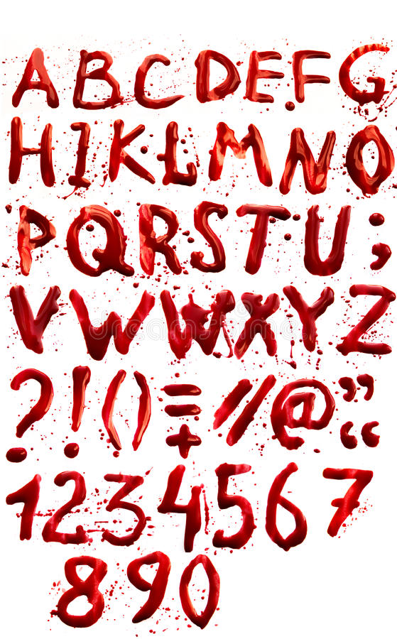 Bloody alphabet (font) royalty free stock photography