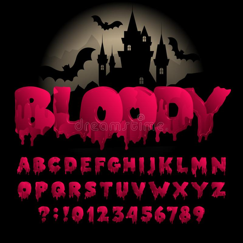 Bloody alphabet font. Hand drawn blood letters and numbers. Vector typography for your design stock illustration
