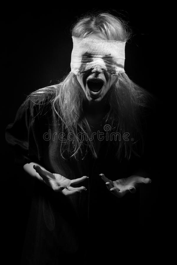 Bloody blond girl royalty free stock images