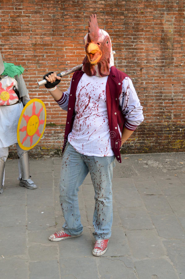 Bloody chicken at Lucca Comics and Games 2014 stock photography