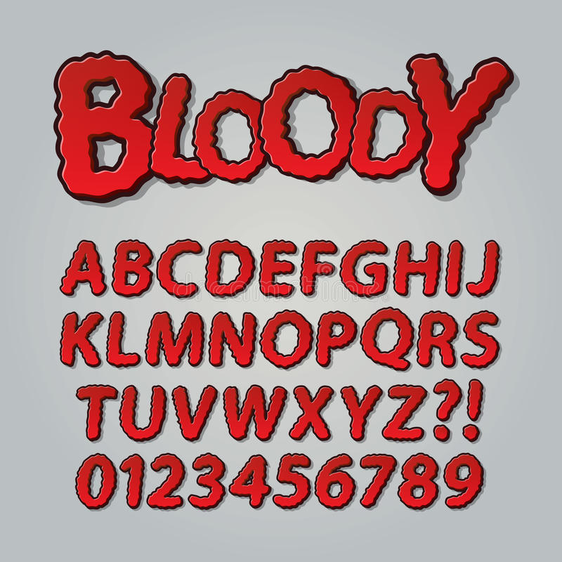 Bloody Comic Pop Art Alphabet and Numbers stock photography