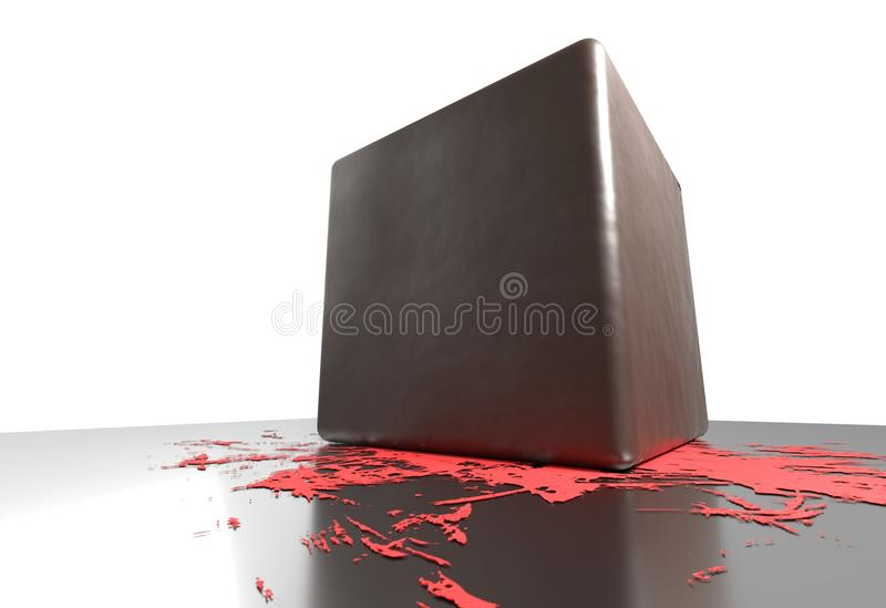 Bloody cube smash and small blood on reflective floor 3d illustration stock illustration