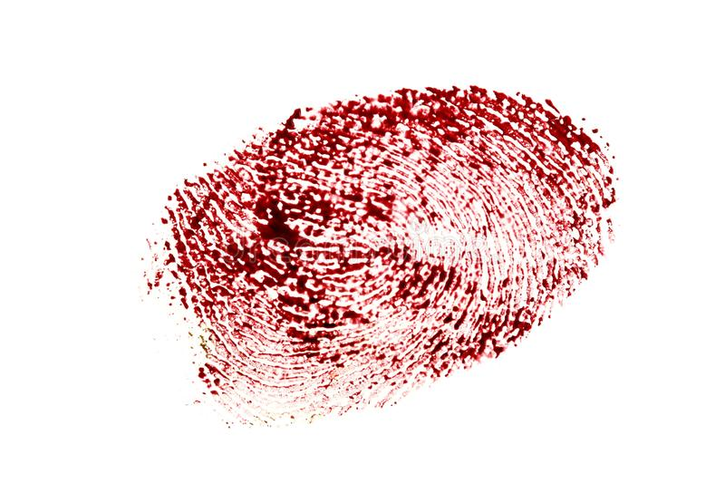 Bloody fingerprint isolated on a white background royalty free stock photography