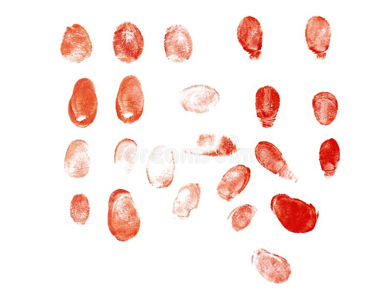 Bloody fingerprints on white background royalty free stock image