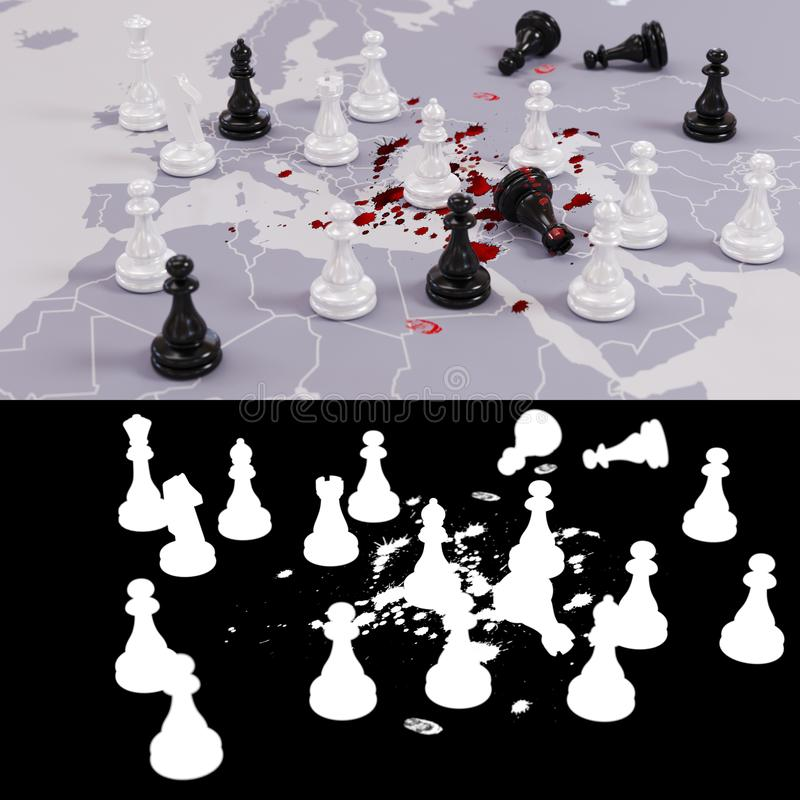 Bloody geopolitical chess game stock images
