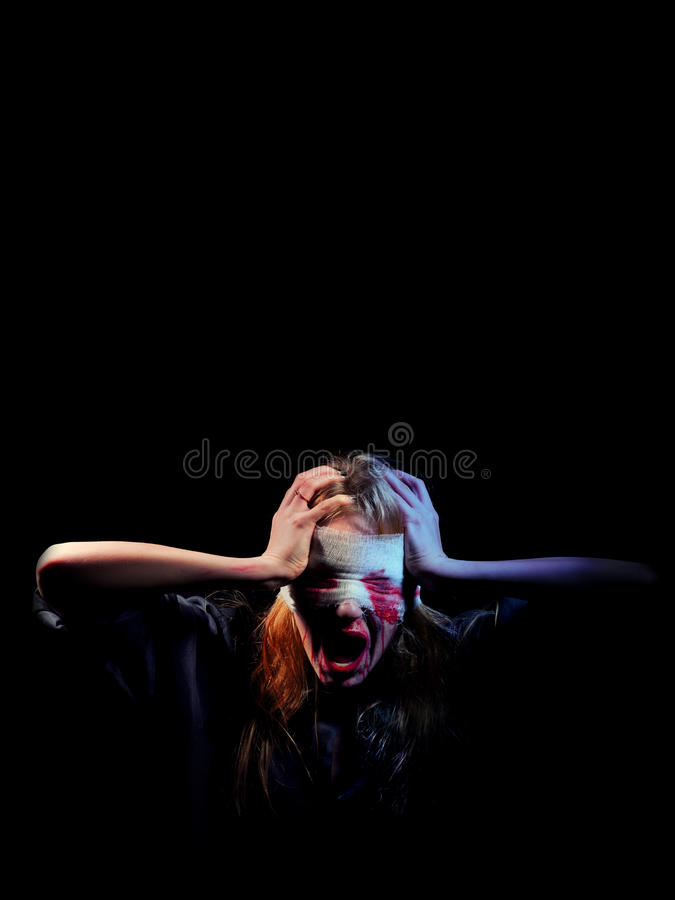 Bloody girl screaming stock images