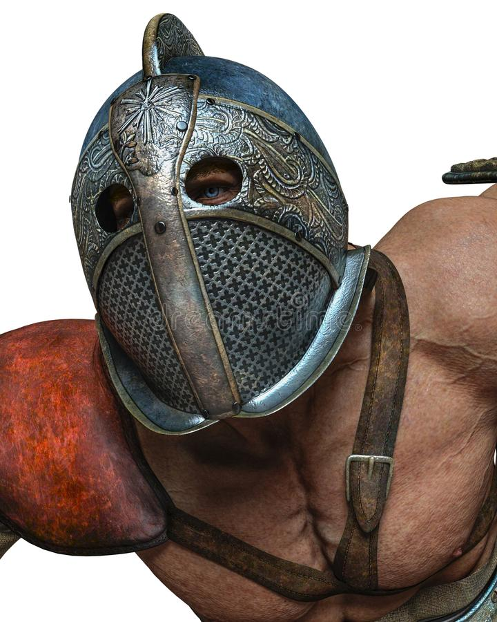 Bloody gladiator in an white background stock illustration