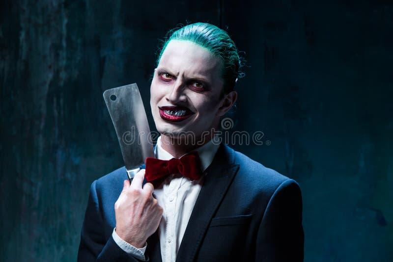 Bloody Halloween theme: crazy joker face stock images