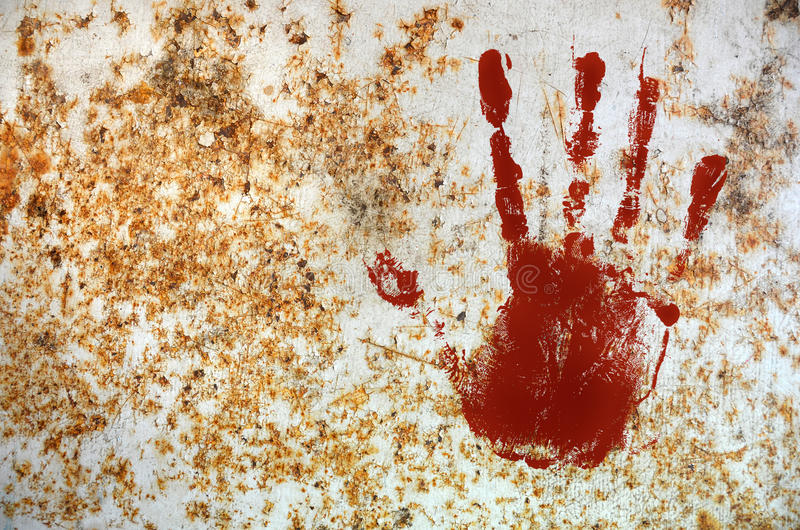 Bloody hand print royalty free illustration