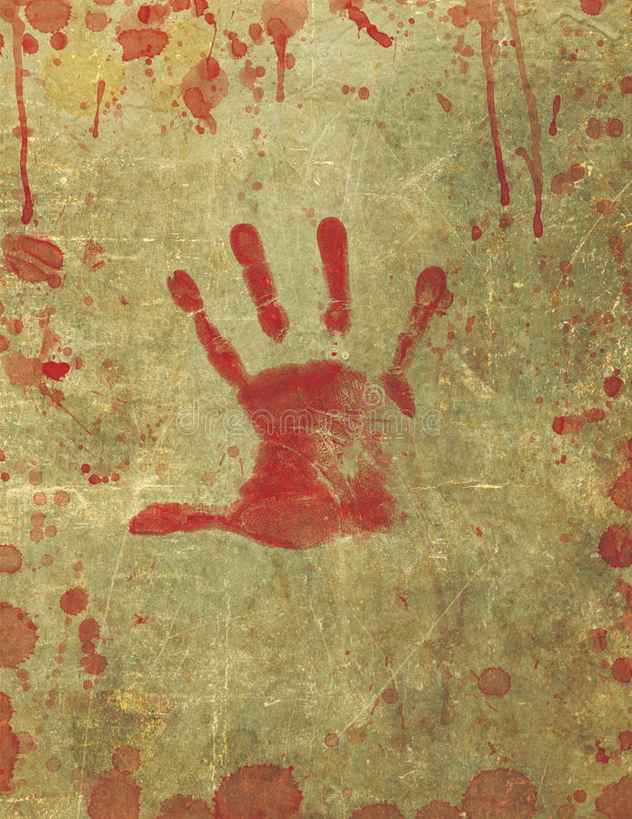 Bloody Hand Print Blood Splattered Background royalty free illustration
