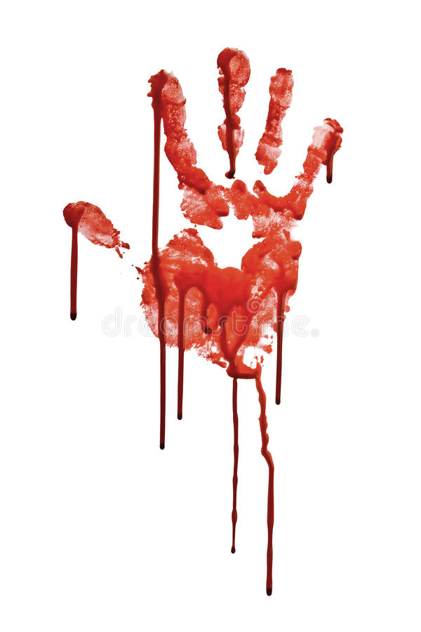 Bloody hand-prints isolated on white royalty free stock photo