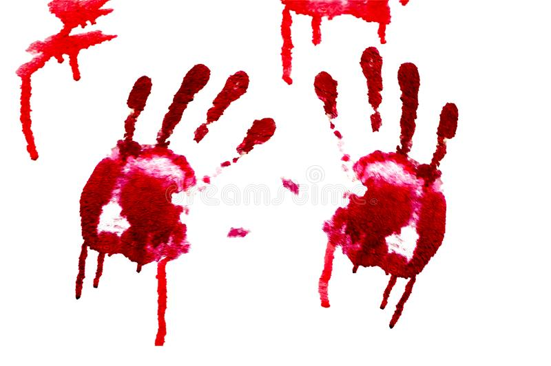 Bloody hand-prints isolated royalty free stock images