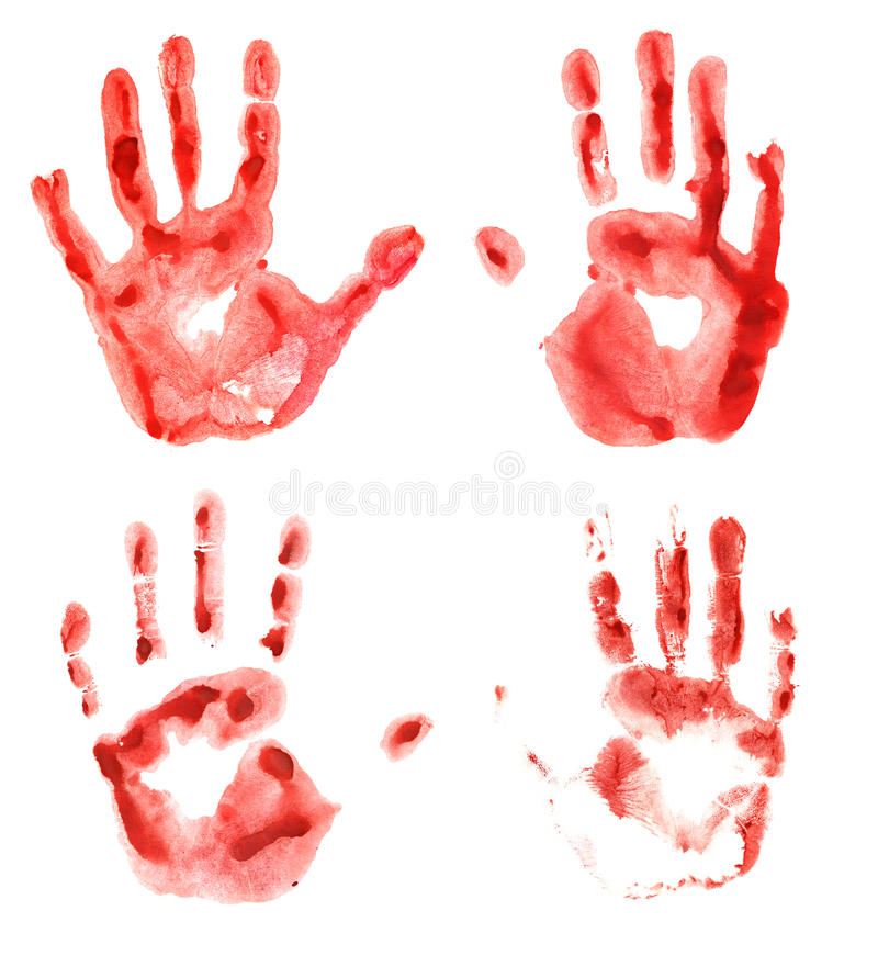 Bloody hand prints. Set with four bloody hand prints isolated on white, Halloween theme stock photos
