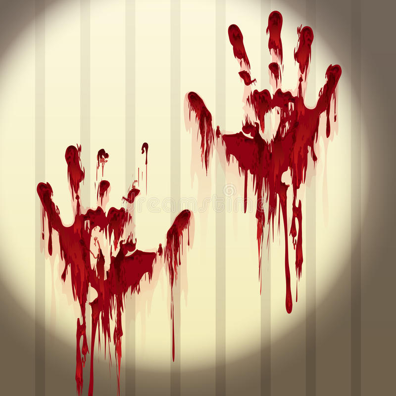 Bloody hand prints on a wall royalty free illustration