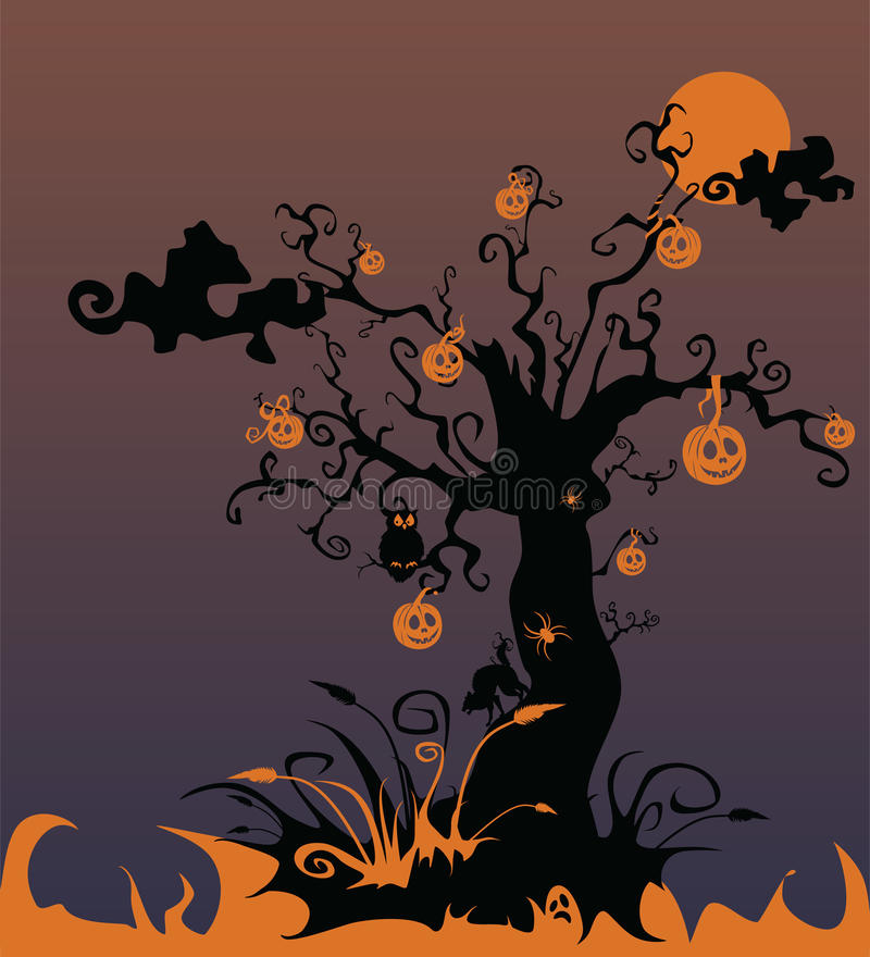 Download Bloody Landscape With A Terrifying Tree And Pumpki Stock Illustration - Image: 10836744