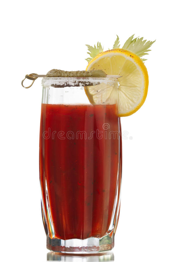 Bloody Mary. Alcoholic cocktail isolated on white royalty free stock images
