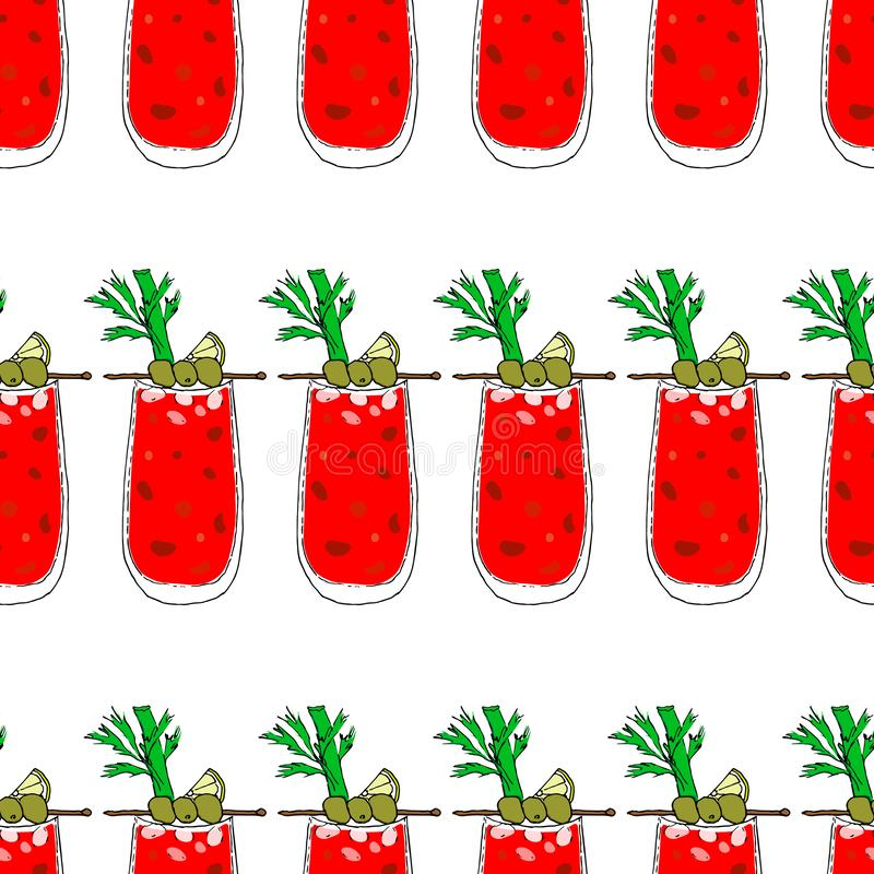 Bloody Mary Cocktail Color Seamless Pattern vector illustration. Glass on white isolated background. Bloody Mary Cocktail decorated with three olives on a stick vector illustration